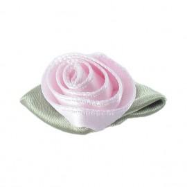 Fleur ruban rose à coller/coudre rose perlé