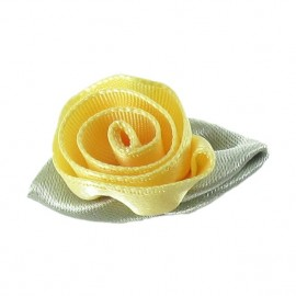 Fleur ruban rose à coller/coudre jaune citron