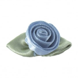Rose Ribbon Flower to glue/to sew - blueish grey