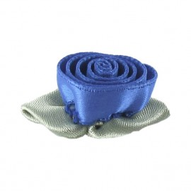 ♥ Fleur ruban rose à coller/coudre bleu denim ♥
