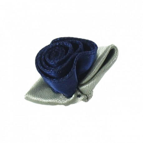 Rose Ribbon Flower to glue/to sew - midnight blue