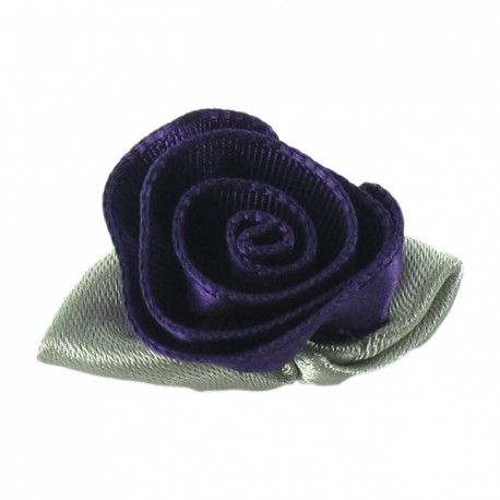 Rose Ribbon Flower to glue/to sew - indigo-blue
