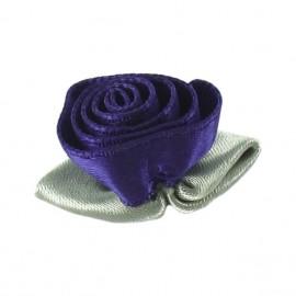 Fleur ruban rose à coller/coudre violet
