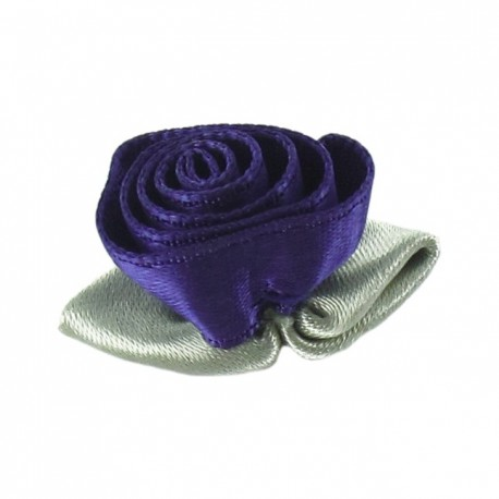 Rose Ribbon Flower to glue/to sew - purple