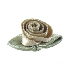 Rose Ribbon Flower to glue/to sew - beige