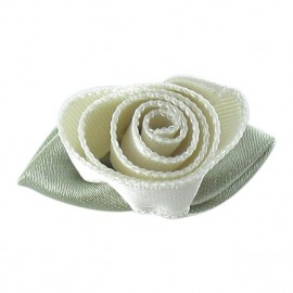 Rose Ribbon Flower to glue/to sew - light beige