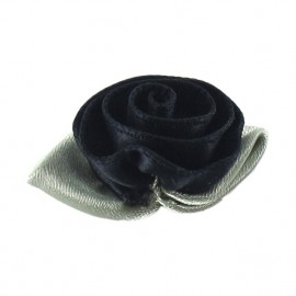 Rose Ribbon Flower to glue/to sew - black