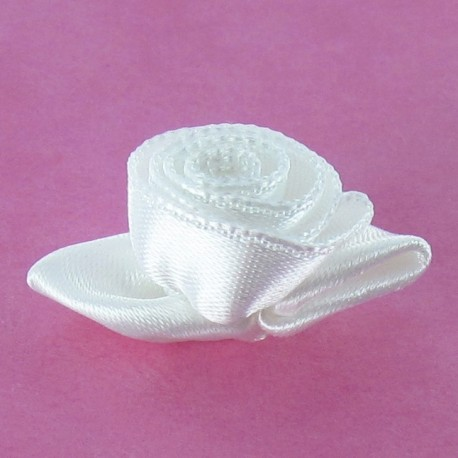 Rose Ribbon Flower to glue/to sew - off-white