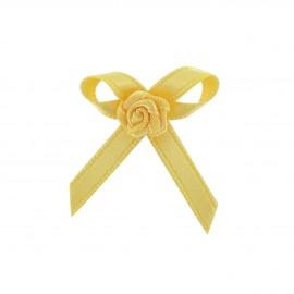 Fleur ruban à coller/coudre jaune citron