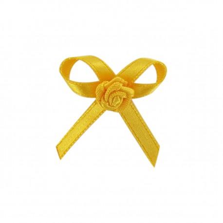 Fleur ruban à coller/coudre moutarde