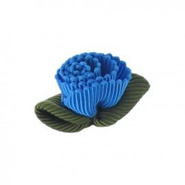 Fleur ottoman à coller/coudre bleu paon