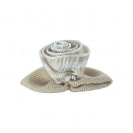 Gingham Flower to glue/to sew - beige/white