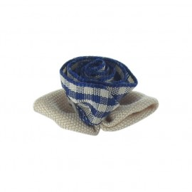 Gingham Flower to glue/to sew - beige/navy