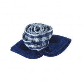 Gingham Flower to glue/to sew - navy/white
