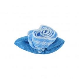 Fleur vichy à coller/coudre bleu ciel et blanc