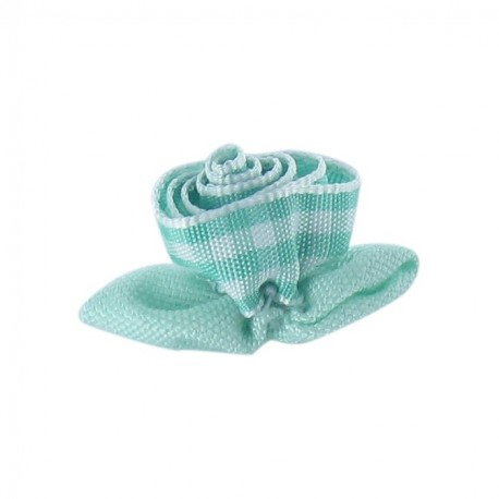 Gingham Flower to glue/to sew - frozen mint/white