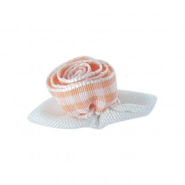 Gingham Flower to glue/to sew - peach/white