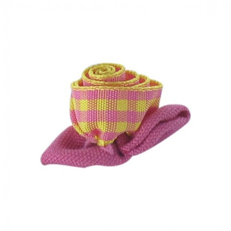 Gingham Flower to glue/to sew - pink/yellow