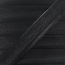 Imitation leather bias binding, 25 mm, metallic aspect - black