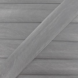 Imitation leather bias binding, 25 mm, metallic aspect - silver