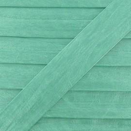 Biais simili cuir métallisé vert menthe 25 mm