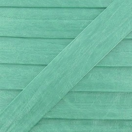 Imitation leather bias binding, 25 mm, metallic aspect - mint