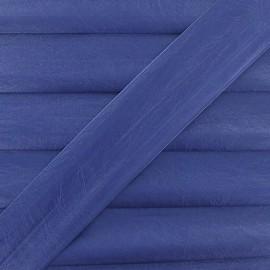 Biais simili cuir métallisé bleu 25 mm