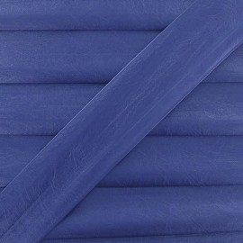 Imitation leather bias binding, 25 mm, metallic aspect - blue