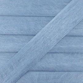 Biais simili cuir métallisé bleu ciel 25 mm
