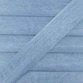 Imitation leather bias binding, 25 mm, metallic aspect - light blue