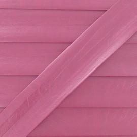 Biais simili cuir métallisé rose 25 mm