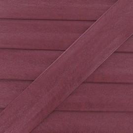 Biais simili cuir métallisé bordeaux 25 mm