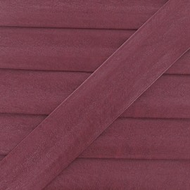 Imitation leather bias binding, 25 mm, metallic aspect - burgundy