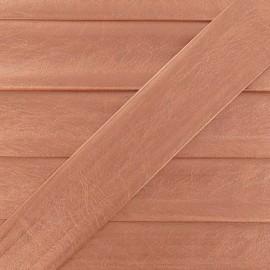 Biais simili cuir métallisé cuivre 25 mm