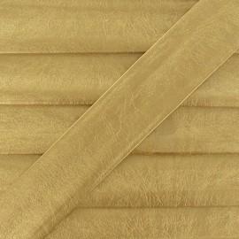 Biais simili cuir métallisé or jaune 25 mm