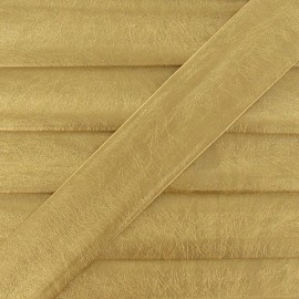 Imitation leather bias binding, 25 mm, metallic aspect - yellow gold