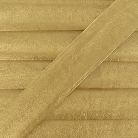 Imitation leather bias binding, 25 mm, metallic aspect - yellow gold