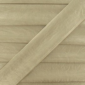 Imitation leather bias binding, 25 mm, metallic aspect - gold
