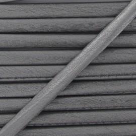 Cordon simili cuir métallisé argent