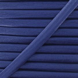 Cordon simili cuir métallisé bleu