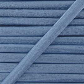 Imitation leather cord, metallic - light blue
