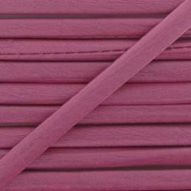 Cordon simili cuir métallisé rose
