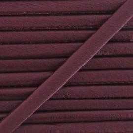 Imitation leather cord, metallic - burgundy