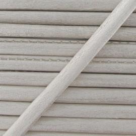 Imitation leather cord, metallic - off-white