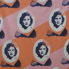 Tissu Mélody Miller Ruby star polka dot/portrait rose/orange x 30cm