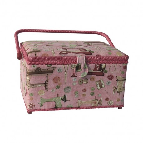 Bo te couture rectangle machine coudre rose ma for Boite a couture