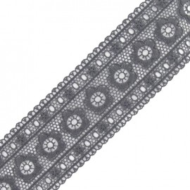Guipure lace, Flowers Frieze 63 mm x 50cm - grey