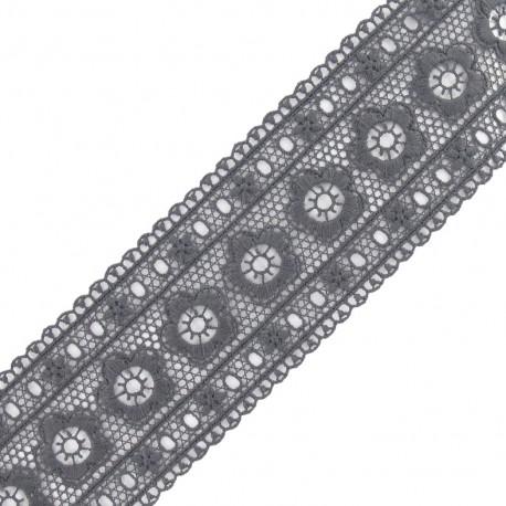 Guipure lace, Flowers Frieze 63 mm x 50cm - grey
