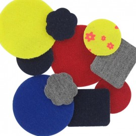 A pack of 10 jersey iron-on repair patches - multicolored