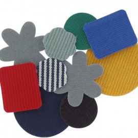 A pack of 10 canvas and velvet iron-on repair patches - multicolored